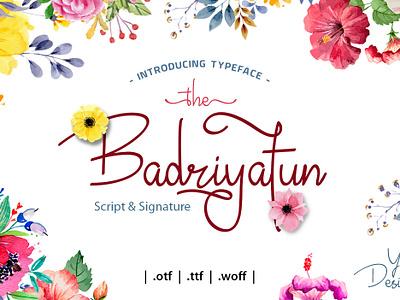 Badriyatun Script & Signature type typeface script font script vector typography brand