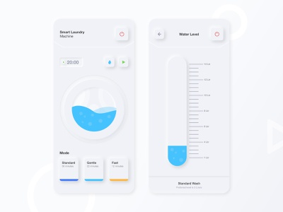Smart Laundry Neumorphism smarthome dimest gradient creative ios app dribbble washing machine laundry laundry app ux design ui neumorphism