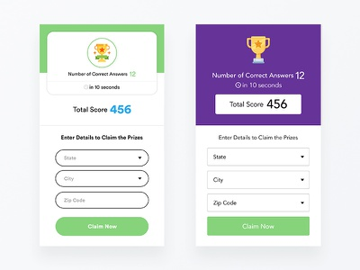 Results Screen ronak ios android app design answers reward results