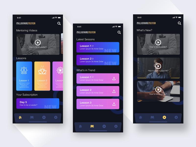 Mentoring App User Interface design dark iphonexs ios ux ui darkui app