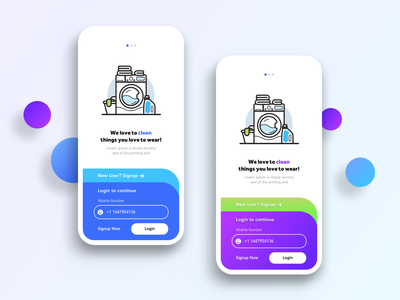 Onboarding Concept - Laundry App ui design ux ui sketch minimal illustration gradient dribbble design creative on boarding concept clean app