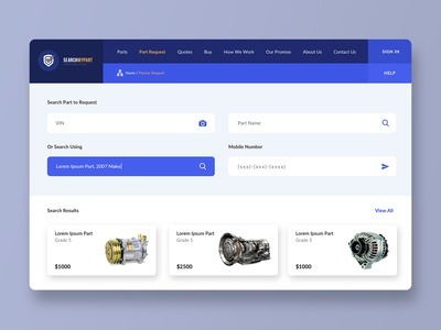 Searching Parts Dashboard Design