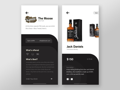 Whiskey Ordering App eccomerce winery whiskey ronak dribbble ios app ux design ui