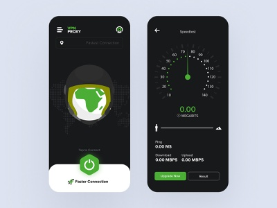 VPN App (Dark UI) dark theme vpn app vpn dark ui dark dribbble ios ux design ui