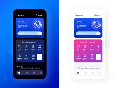 Laundry App (Dark+Light) wash washing dark mode dark app light ui dark ui ios dribbble app creative ux design ui