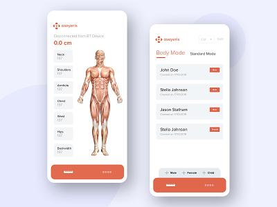 Oseyeris Body Measurement BT Companion App app ios illustration dribbble creative uiux bluetooth iot development body measurement iot ux design ui