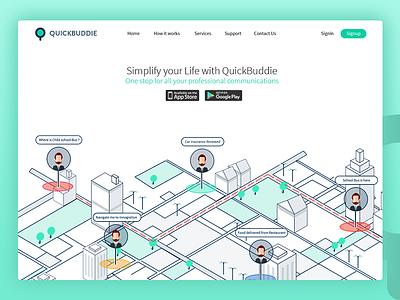 Quick Buddie- Personalised. Professional Communication  2017 illustration app mobile logo website buddie quick