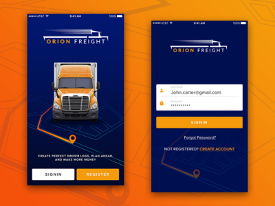 Truck Tracking System App location traacking login screen truck app tracking vehicle app uiux design branding