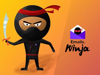 Need your Feedback email samurai illustration mascot ninja
