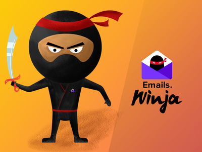 Need your Feedback email samurai illustration mascot ninja