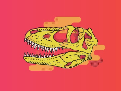 Tyrannosaurus 2 trex dinosaur design graphic illustrator neon illustration