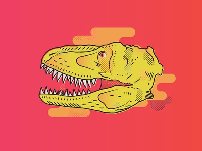 Tyrannosaurus 1 trex dinosaur design graphic illustrator neon illustration