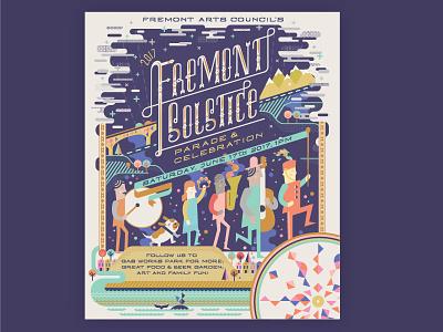 Fremont Solstice Poster illustrator solstice summer parade washington celebration illustration fremont poster seattle