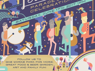 Fremont Solstice Poster typography solstice summer parade washington celebration illustration fremont poster seattle