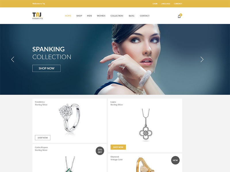 Taj – Responsive eCommerce Bootstrap Template shop online store jewelry store jewelry shop html shop template fashion store electronics store ecommerce template