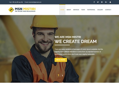 Msn Mistiri – Construction WordPress Theme painter handyman engineer contractor construction company construction business construction building builder architecture