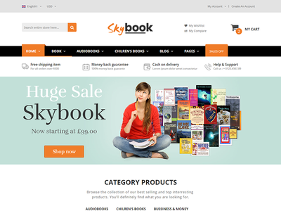 Skybook - Book Shop eCommerce Template responsive html template responsive online book shop multipurpose modern mega menu library ebook clothes clean book