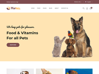 Marten - Pet Food eCommerce Bootstrap4 Template