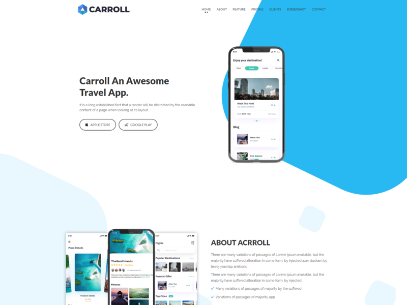 Carroll App Landing Page Html Template By Devitems On Dribbble