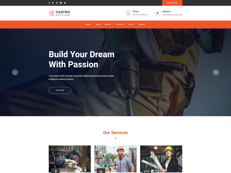 Castro   React Construction Template responsive html5 react js react frontend page react construction react app react plumber interior design industry home design engineer contractor construction company construction builder architecture