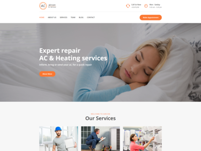 Aircon   Air Conditioning Services Bootstrap 4 Template