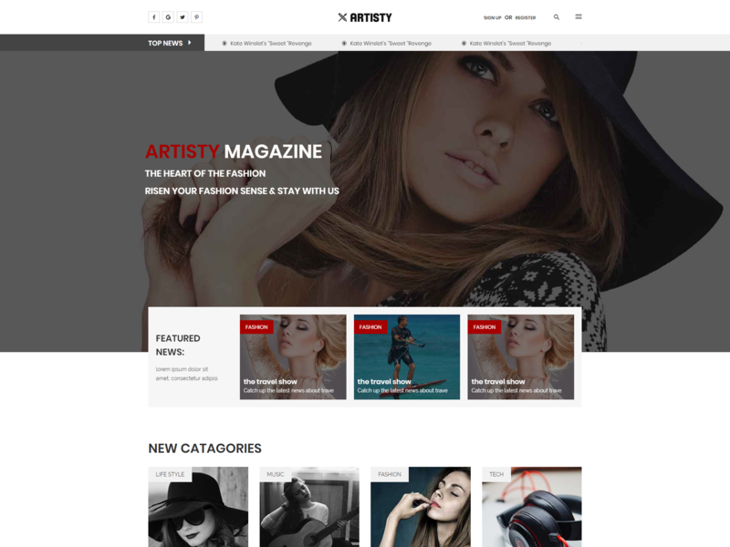 Artisty   A News And Magazine Template bootstrap html5 fashion review responsive rating publishing newspaper news magazine lifestyle journalist journal high contrast editorial clean blog article