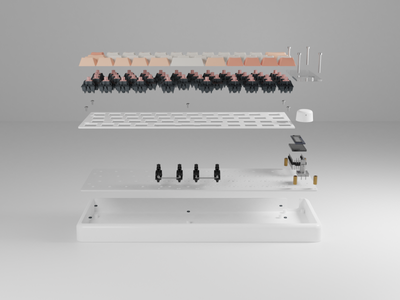 Whimsy: Explode product rendering 3d keyboard product design render