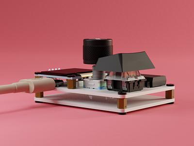 One Percent design keyboards mechanical keyboard physical render product design 3d pcb render keyboard