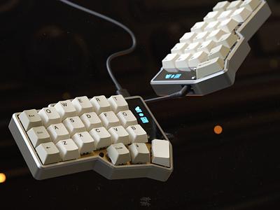 CRKBD design keyboard 3d rendering render
