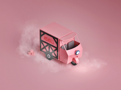 Mendl's Truck modelling model car pink the grand budapest hotel lowpoly truck mendls wes anderson render 3d illustration
