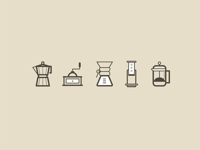 Coffee Icons aeropress espresso latte coffee freelance fun drawing icons illustration doodle