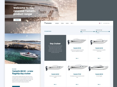 Yamarin - Implementing a brand renewal into the digital space website design website developer digital branding marketing yamarin boats product ux ui