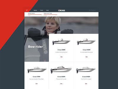 Yamarin Cross models page models yamarin cross boats website development website design product page ux ui
