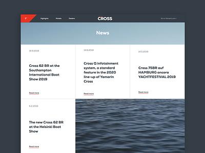 Yamarin Cross - News page web design website development design boats marketing website design ux ui