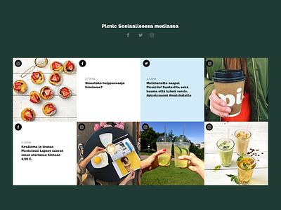 Picnic website - Social media feed picnic website development social media design food and drink marketing website design ux ui