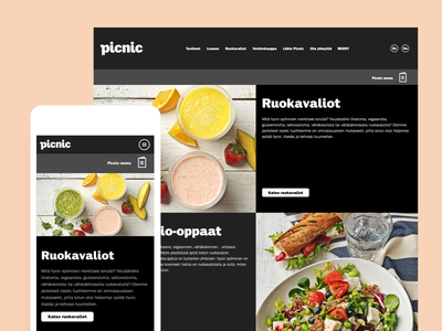 Picnic website - Diets Menu picnic website development mobile marketing design website design ux ui