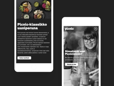 Picnic website - Responsive mobile view