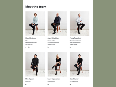Sangre  - Meet the team grid ui aboutus website design photography design team