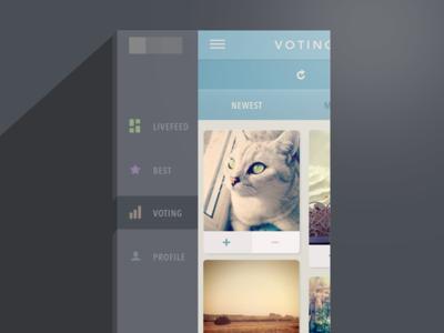 Voting screen (side menu) iphone navigation bar flat side menu