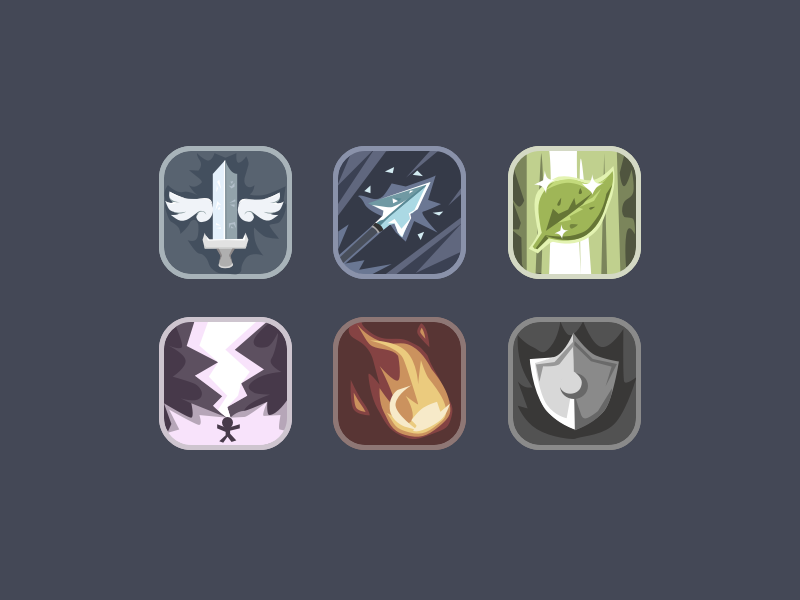 RPG icons shield icon arrow heal rpg fantasy thunder fire sword icons game