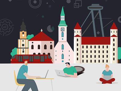 Work in Bratislava vector illustration vectorart illustrator flatdesign webdesig socialmedia poster design character zdravolina illustration