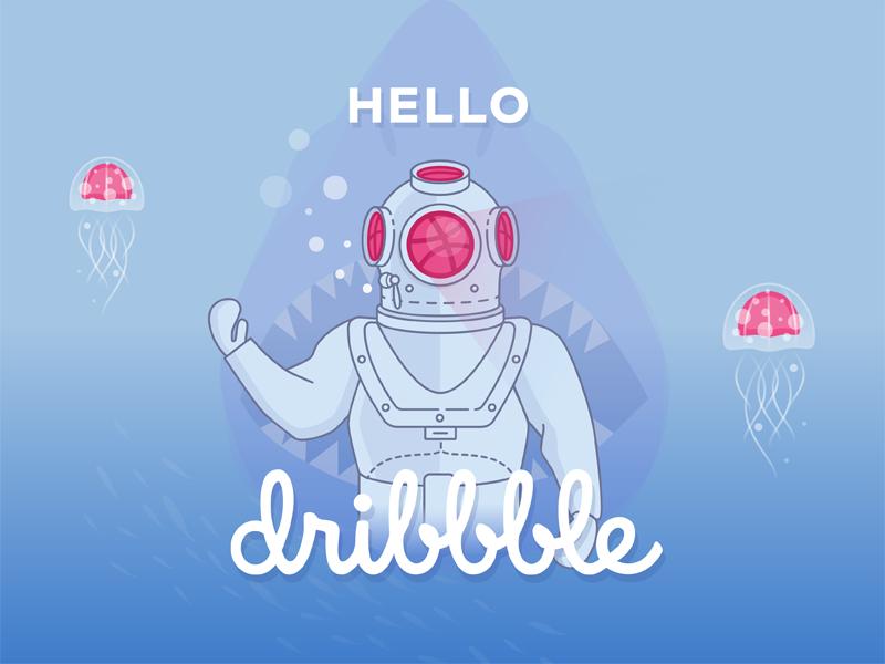 Hello Dribbble first shot jellyfish helmet diver shark diving illustration hello dribbble debut