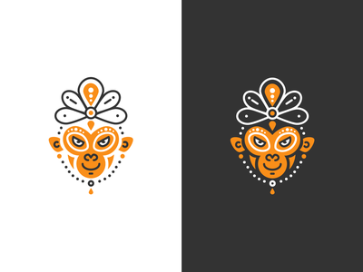 Monkey Logo branding african hindi creative design digital indian gypsy monkey logo illustration