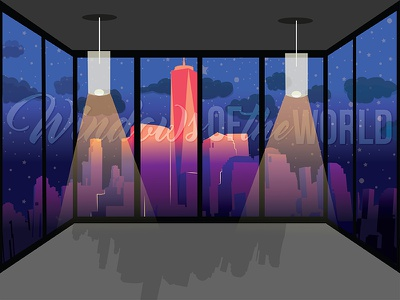 Windows of the World (Nighttime) lights graphicdesign illustration views apartment landscape city windows window
