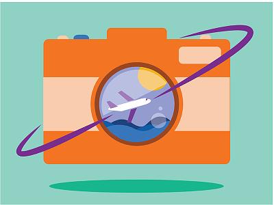 Travel graphicdesign illustration logo airplane camera travel