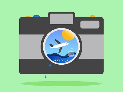 Travel fish graphicdesign illustration logo airplane camera travel