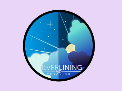 Silver Lining clouds illustration logo stars night rays sun sky silverlining