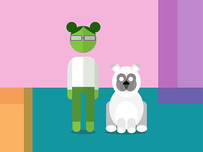 girl & dog avatar icon dog girl characters illustration