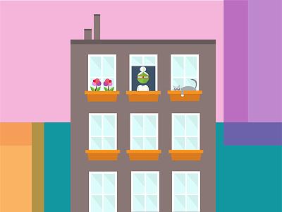 Grandma & Cat characters flowers windows architecture illustration cat woman city