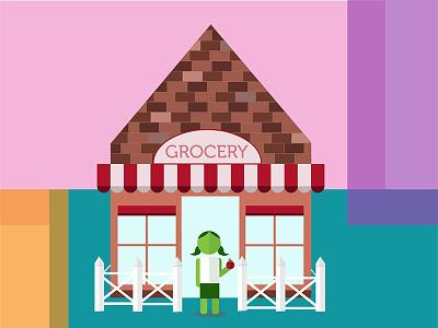 Girl & Apple fence windows bricks character food eat grocery apple girl illustration